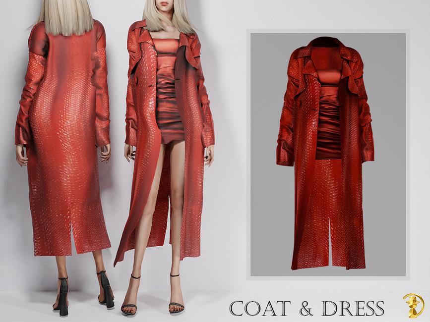Пальто с платьем для Симс 4