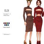 Платье ELSI - Midi Dress Симс 4