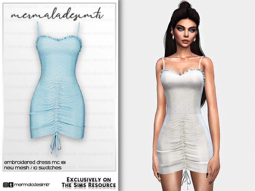 Платье Embroidered Dress MC181 Симс 4