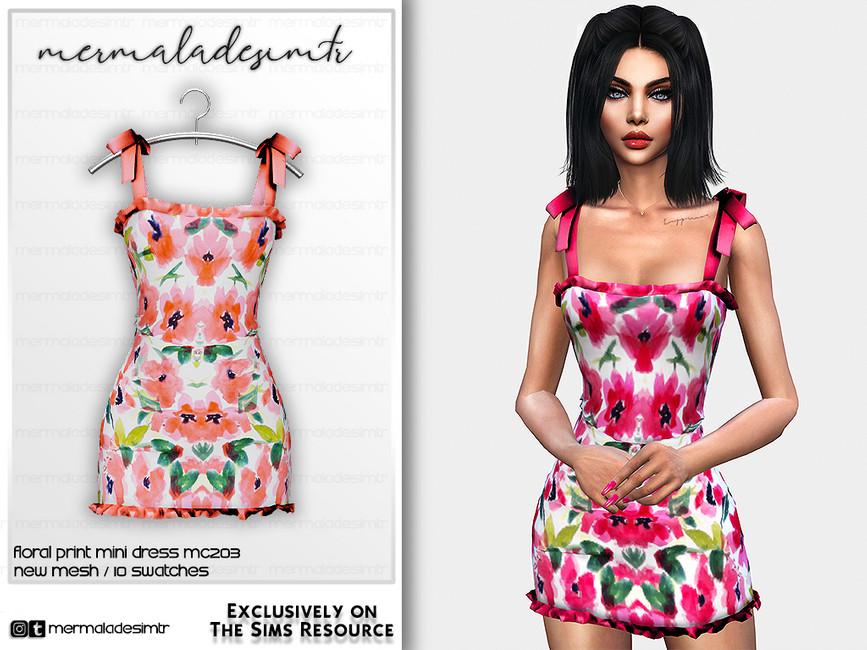 Платье Floral Print Mini Dress MC203 Симс 4