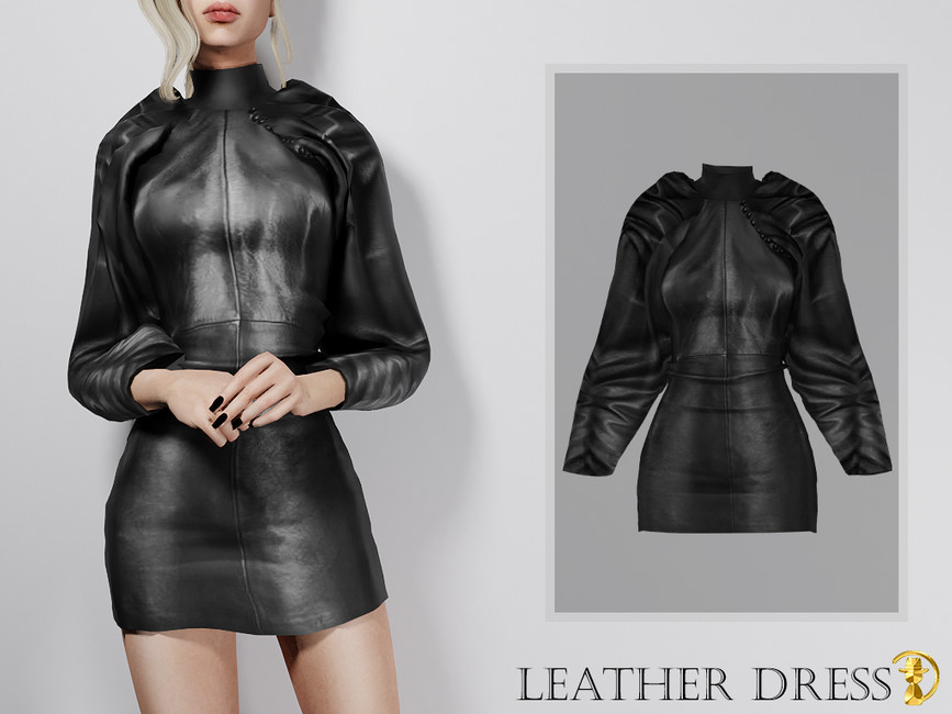 Платье Leather Dress Симс 4