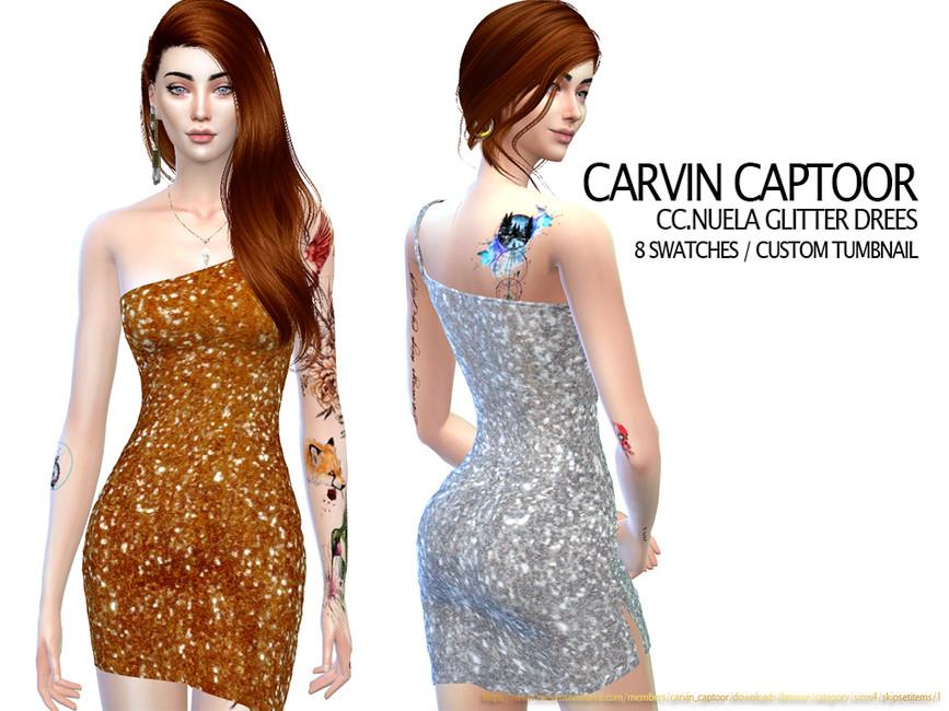 Платье Nuela Glitter Dress Симс 4