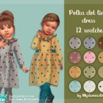 Платье Polka Dot Linen Dress для детей Симс 4