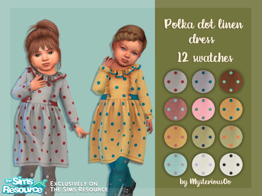 Платье Polka Dot Linen Dress для детей Симс 4
