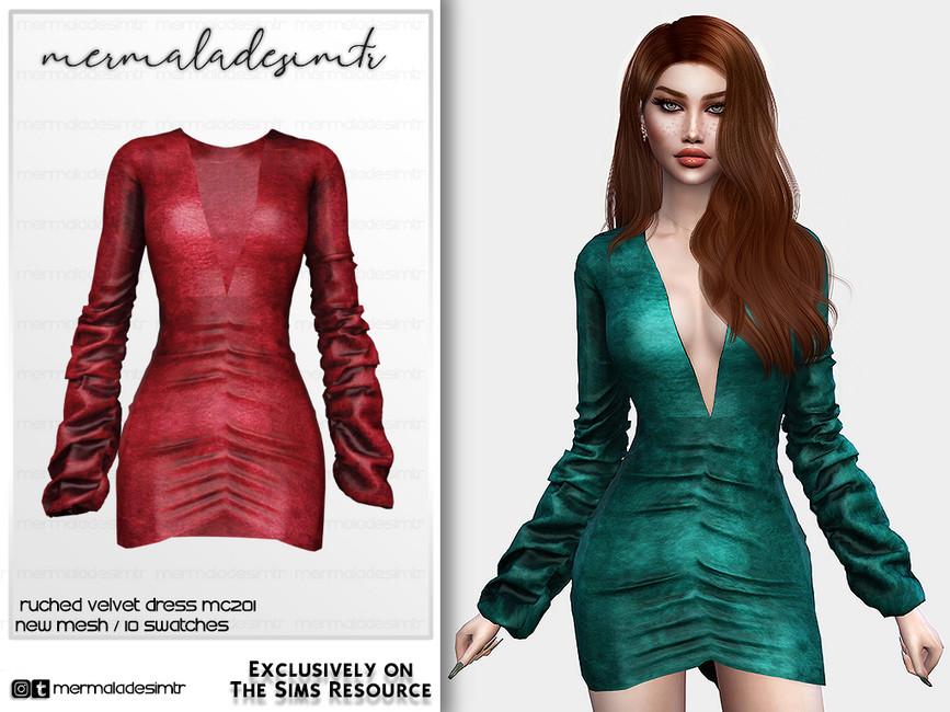 Платье Ruched Velvet Dress MC201 Симс 4