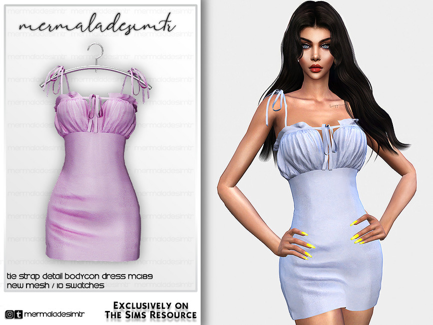 Платье Tie Strap Detail Bodycon Dress MC189 Симс 4