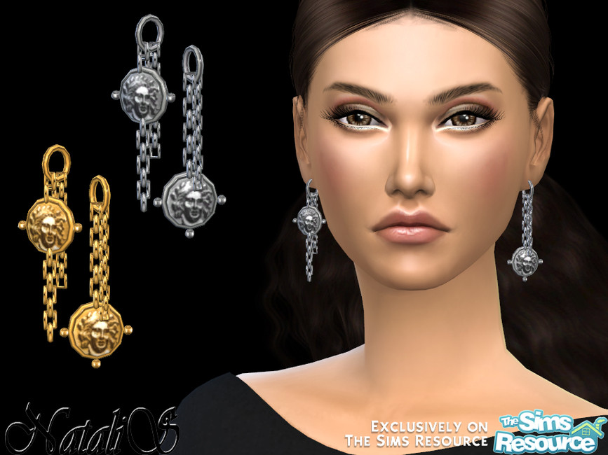 Сережки Coin Chain Dangle Earrings Симс 4