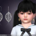 Сережки для детей Drop Leaf Earrings For Toddlers Симс 4
