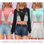 Свитер Three Color Crop Sweater Симс 4