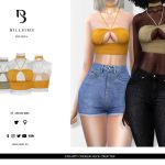 Топ Strappy Choker Neck Crop Top Симс 4