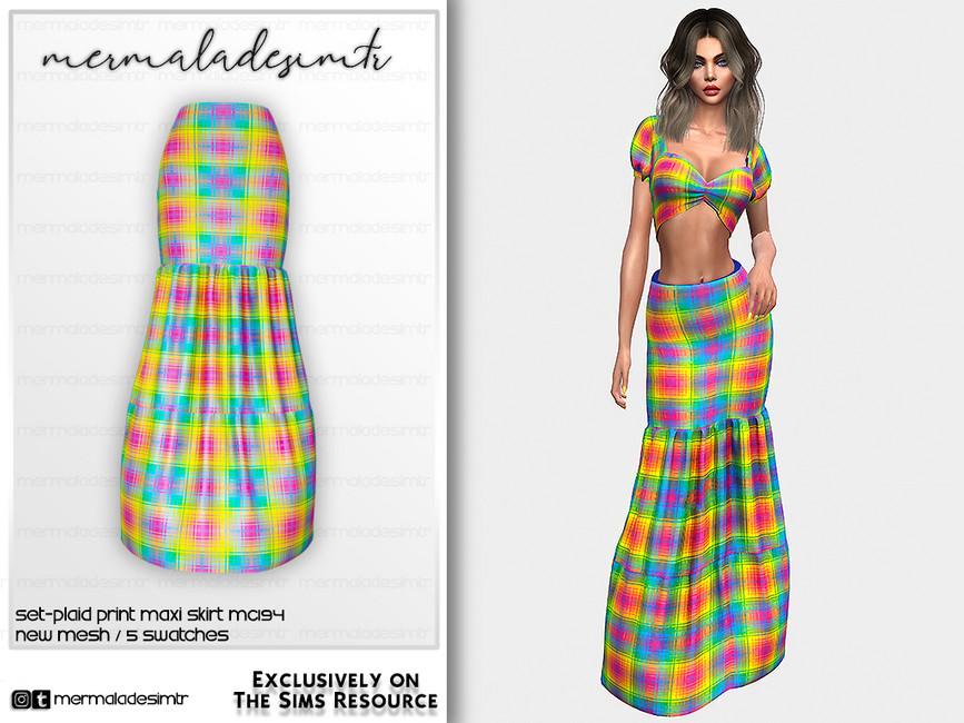 Юбка Set - Plaid Print Maxi Skirt MC194 Симс 4