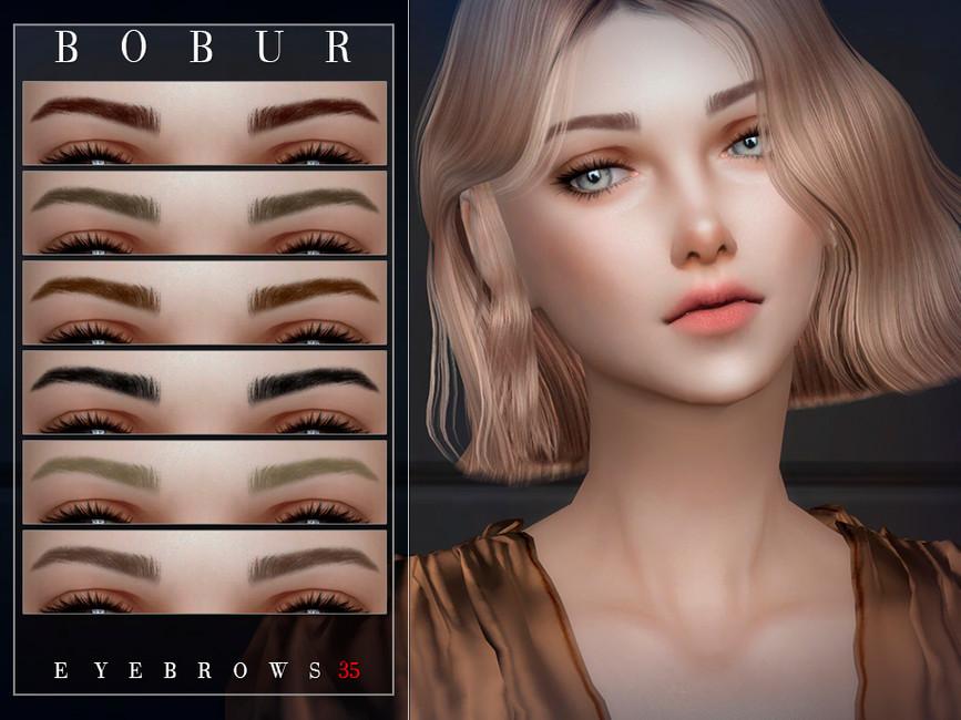 Брови Bobur Eyebrows 35 Симс 4