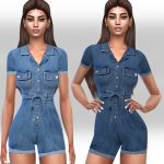 Комбинезон Short Sleeve Denim Jumpsuit Симс 4
