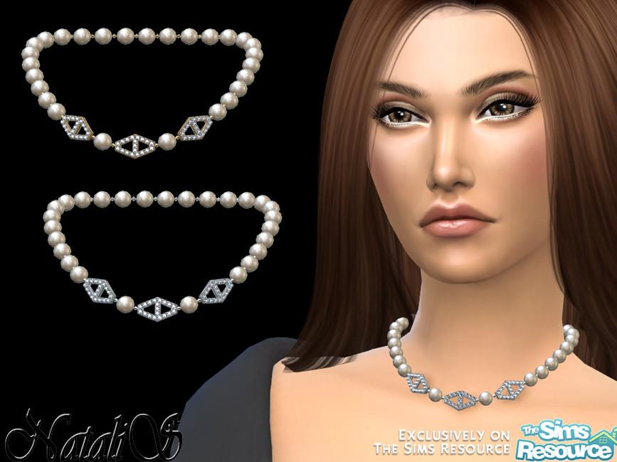 Ожерелье Diamond Hexagon Pearl Necklace - v2 Симс 4