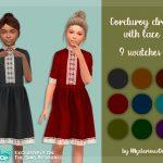 Платье для детей Corduroy Dress With Lace Симс 4