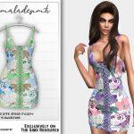 Платье Lace-up Floral Print Dress MC204 Симс 4