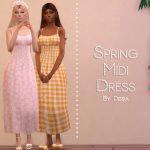 Платье Spring Midi Dress Симс 4