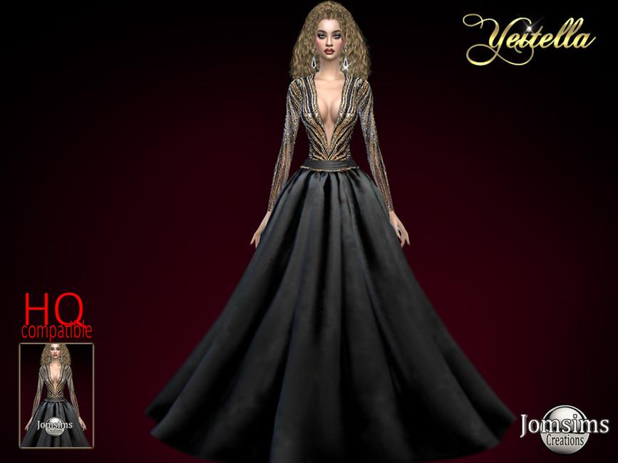 Платье Yeitella Gown Симс 4