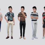 Рубашка для мальчиков Jonas Printed Shirt Boys Симс 4