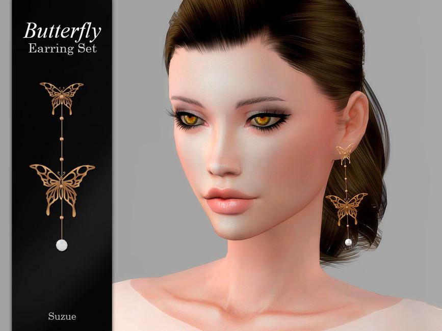 Серьги Butterfly Earrings Симс 4