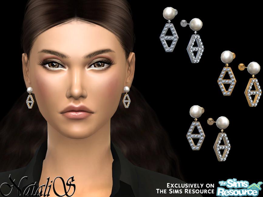 Серьги Diamond Hexagon Pearl Earrings Симс 4