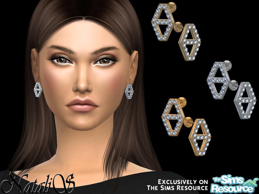 Серьги Diamond Hexagon Stud Earrings Симс 4