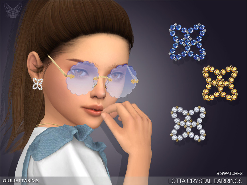 Серьги для детей Lotta Crystal Earrings For Kids Симс 4