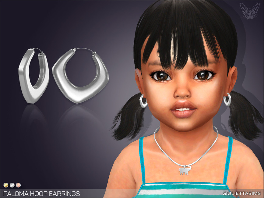 Серьги для малышей Paloma Hoop Earrings For Toddlers Симс 4
