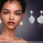 Серьги Golden Shell Drop Earrings Симс 4