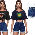 Шорты High Waisted Denim Shorts Симс 4