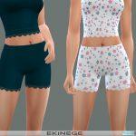 Шорты Ribbed Lace-Trim Shorts Симс 4