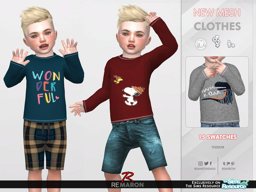 Свитер для детей T Sweater01 MD Симс 4