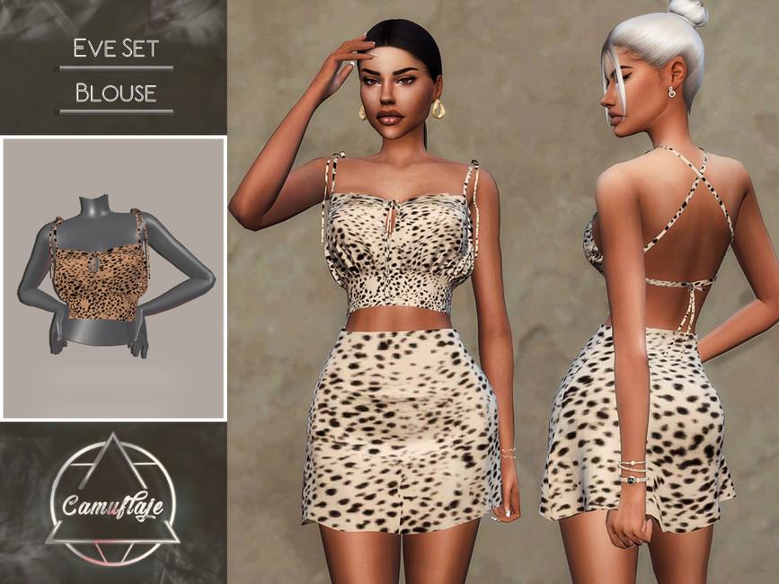 Блузка Eve Set - Blouse Симс 4