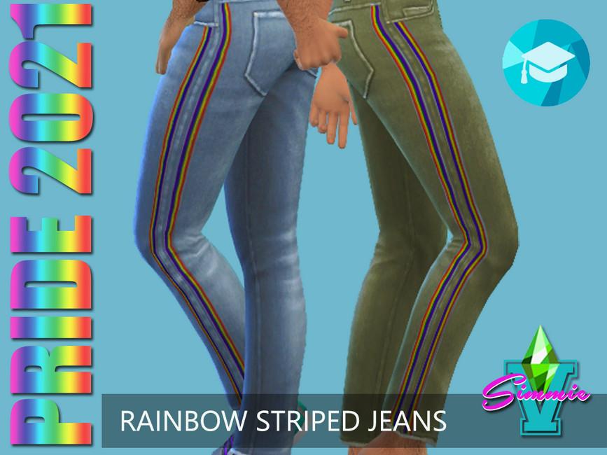 Джинсы Rainbow Stripe Jeans Симс 4