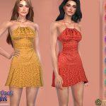 Платье Halter Cutout Dress Симс 4