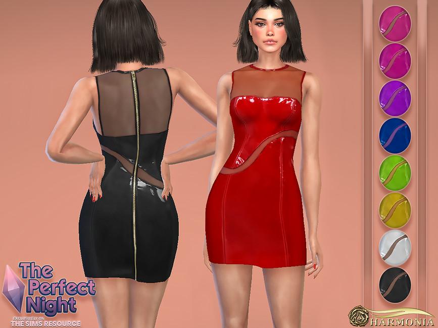 Платье Vinyl Mesh Dress Симс 4
