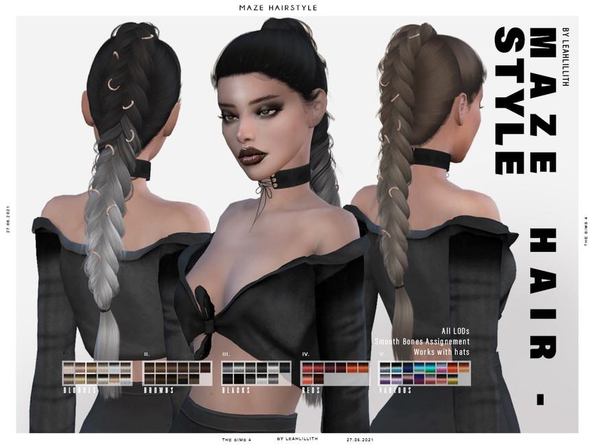 Прическа Maze Hairstyle Симс 4