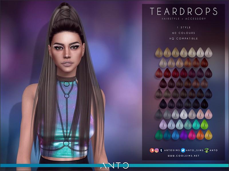 Прическа Teardrops (Patreon) Симс 4