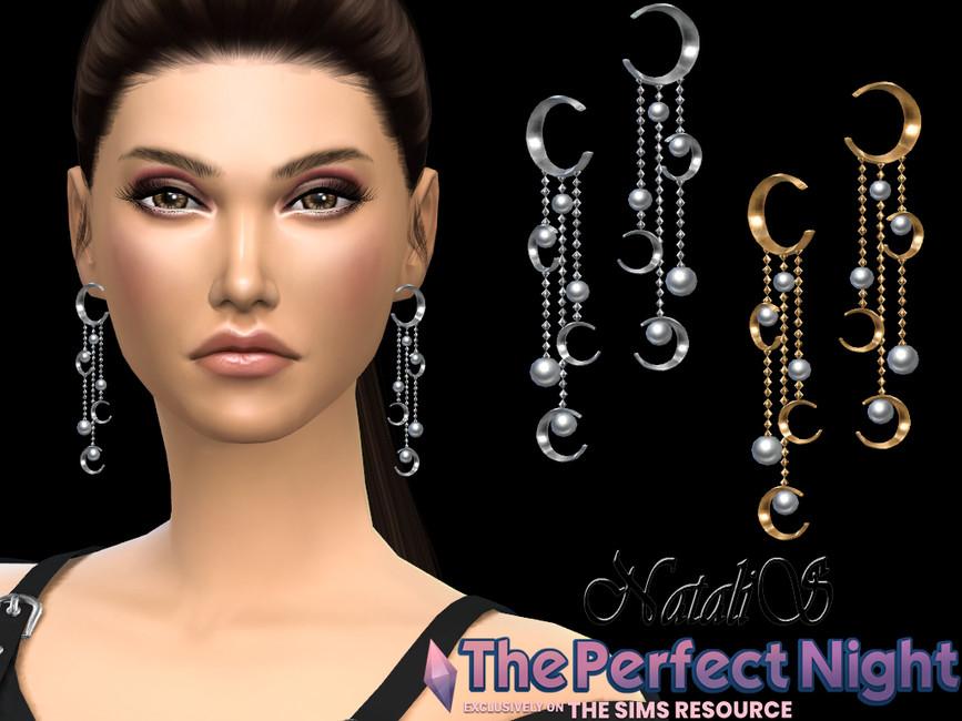 Сережки Crescent With Pearl Earrings Симс 4