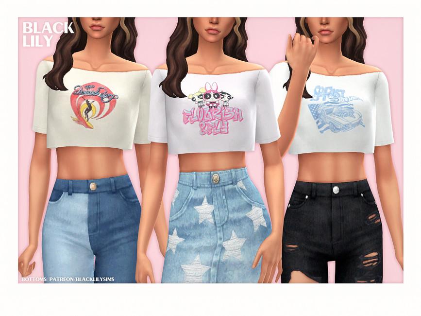 Женская футболка Off-Shoulder Crop Tee Симс 4