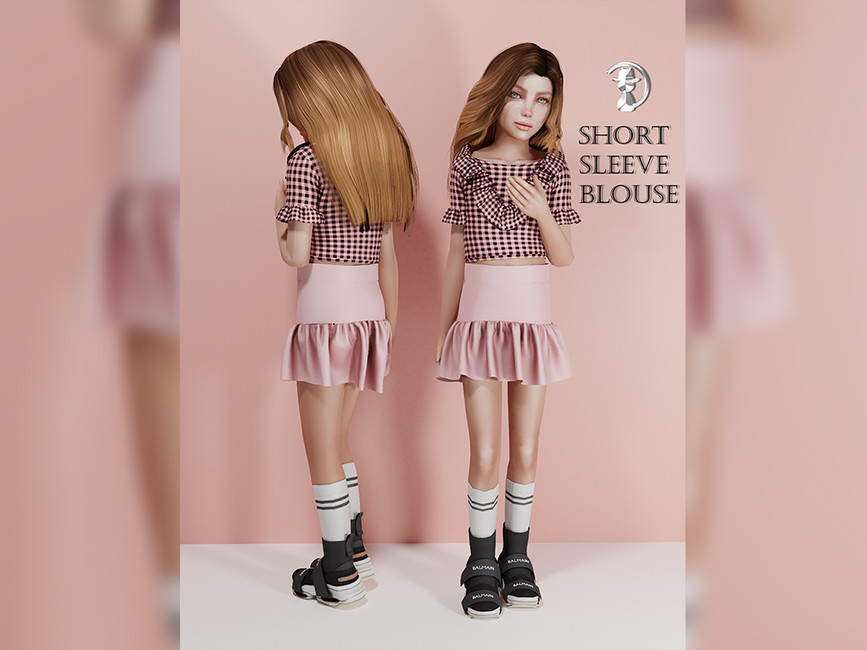 Блузка Short Sleeve Blouse Premium03 Симс 4