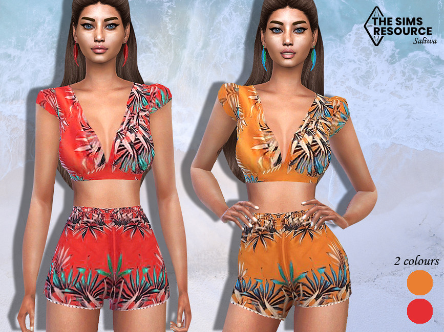 Блузка Summer Shorts Outfit Blouse Симс 4