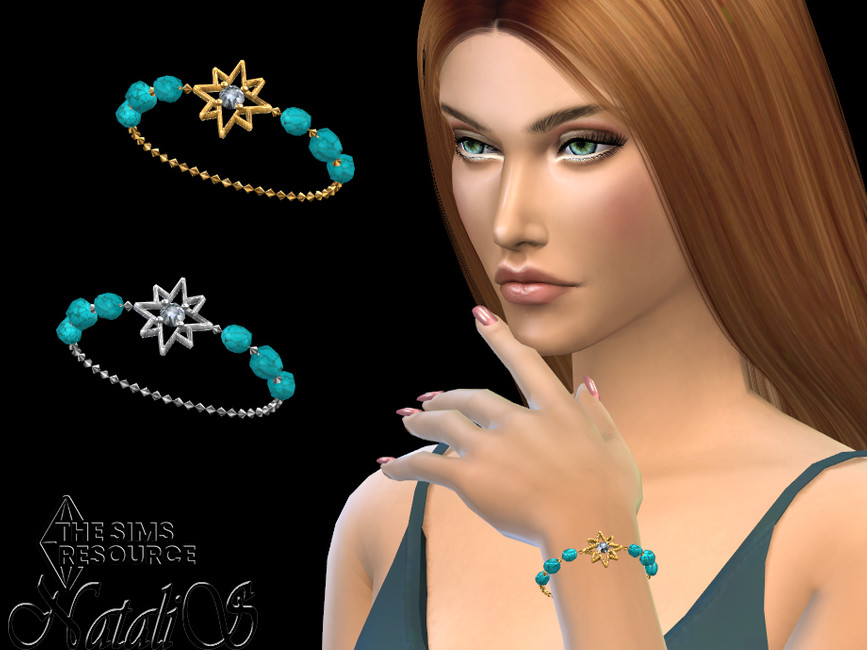 Браслеты Starry Turquoise Gem Chain Bracelet Симс 4