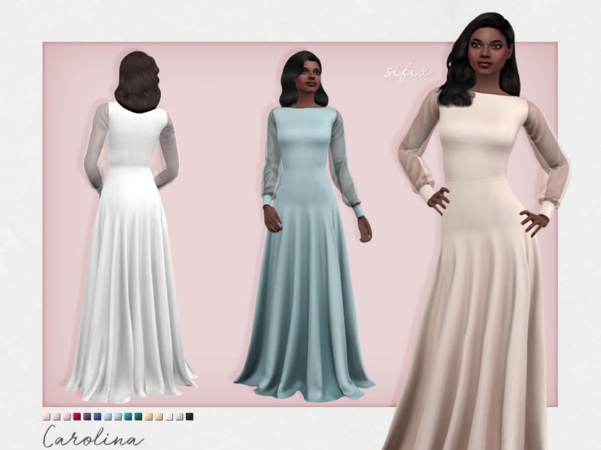Длинные платья Carolina Dress Симс 4