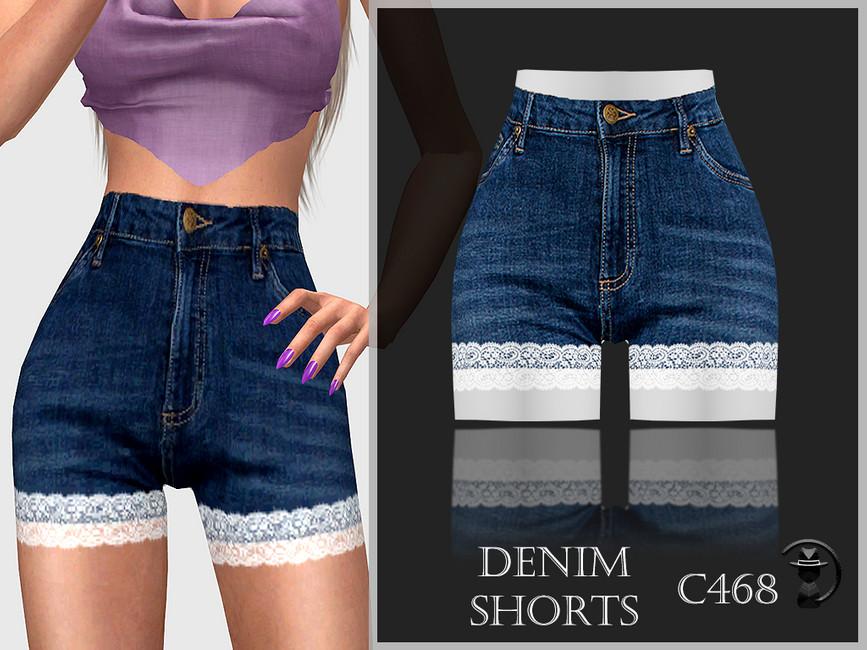 Джинсовые шорты Denim Shorts C468 Симс 4