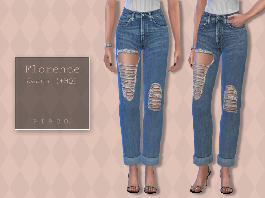 Джинсы Florence Jeans (Rolled) Симс 4