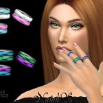 Кольца Multicolor Enamel Tiny Rings Симс 4