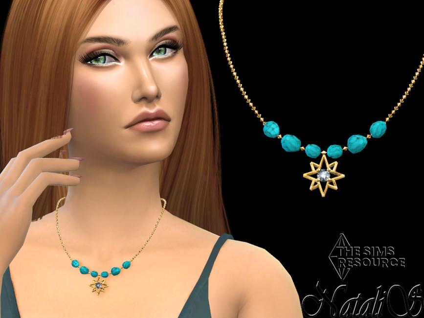 Колье Starry Turquoise Gem Medium Necklace Симс 4