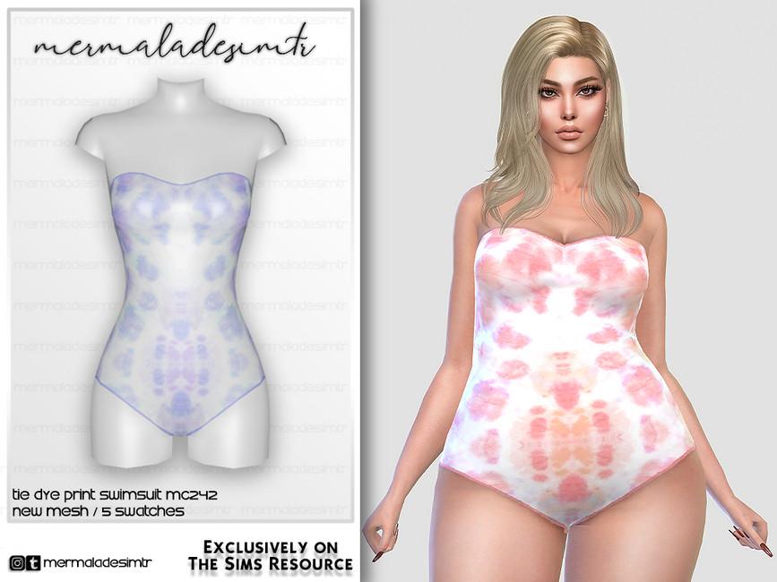 Купальник Tie Dye Print Swimsuit MC242 Симс 4