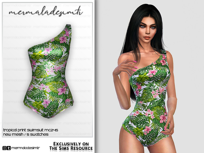 Купальник Tropical Print Swimsuit MC245 Симс 4